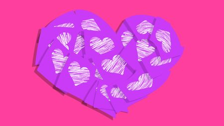 february 1: Romantic heart of love messages notes on pink and purple colors