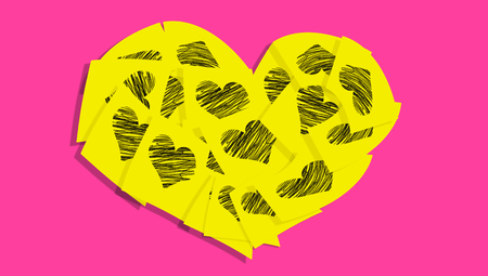 yellow heart: Yellow heart of love messages on pink