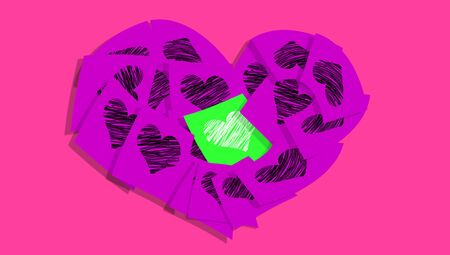 posted: Purple colourful heart of romantic notes