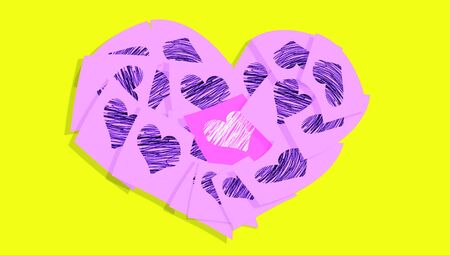 february 1: Love notes colorful image of a heart shape
