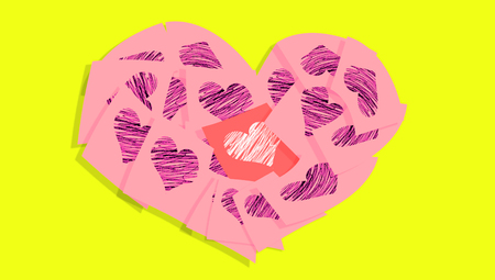 love notes: Pink heart of love notes on yellow