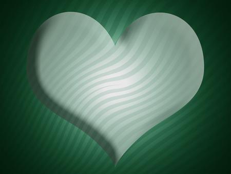 imaginary line: Green striped xmas heart background Stock Photo