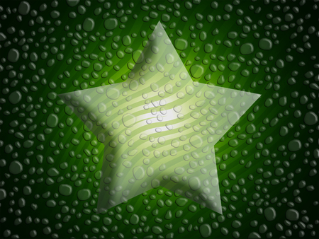 wet: Green wet star abstract xmas background Stock Photo