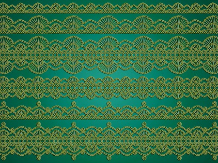 picots: Green elegant vintage crochet abstract background for Christmas Stock Photo