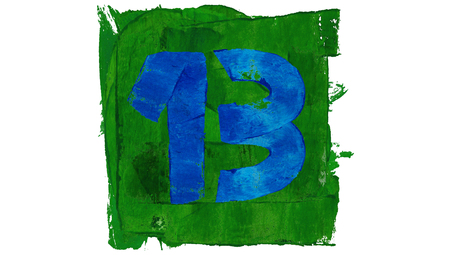 educative: Lucky thirteen number of cold paint colors of art calendar in blue and green