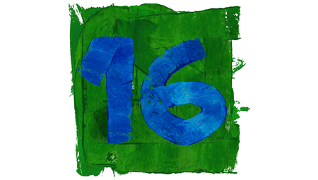 number 16: Number 16 day of art calendar in blue and green paint Stock Photo
