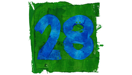 28: Twenty eight or 28 painted with painting colors