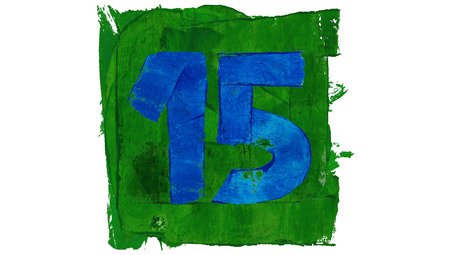 fifteen: Fifteen number painted with paint colors