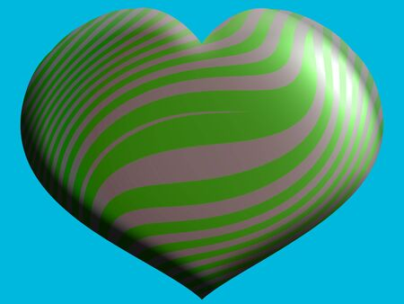 heart 3d: Green heart 3D shape on blue