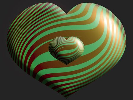 aniversaries: Two striped elegant hearts sizes dark background Stock Photo