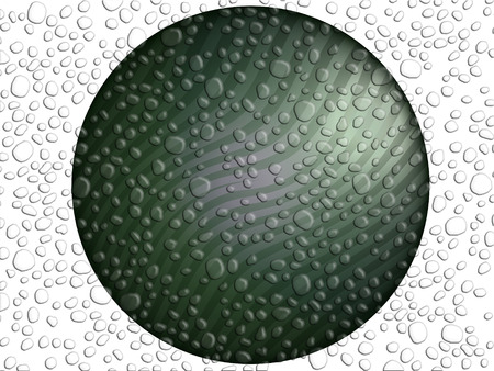 sprayed: Metallic circle with water drops texture