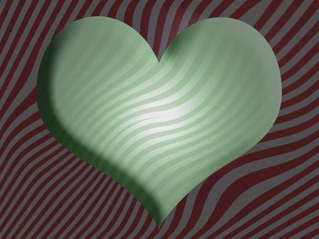 3d heart: Green striped 3D heart background