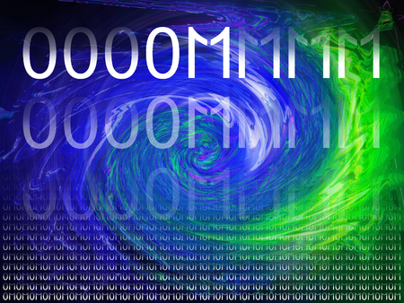 lighthing: Electric energy of meditation with om and binary code numbers Stock Photo