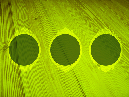 greenish blue: Three circles of wood frames on green luminous background Stock Photo