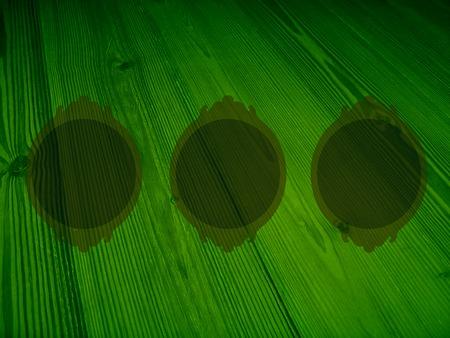 femenine: Dark green three ciorcular wood frames background for pictures