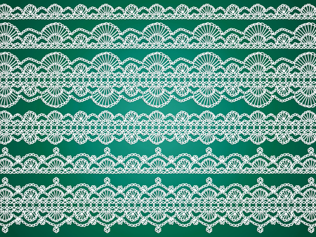purls: Green background with elegant delicacy of crochet laces lines