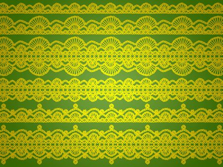 purls: Yellow elegant crochet vintage laces abstract background on green