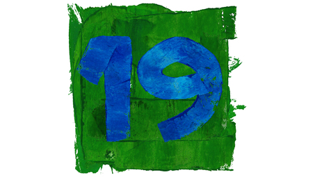 19: Number 19 of blue paint on green square of art calendar days set Stock Photo