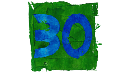 educative: 30 Blue painted numbers on green square of art calendar days set