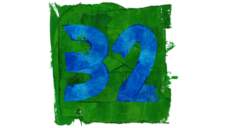 32: Number 32 thirty two of rustic paintbrushes in green and blue colours square