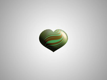 aniversaries: Small heart of gold and green on gray background