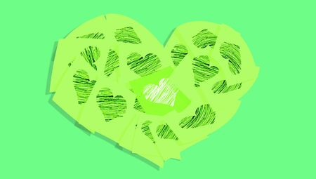 green heart: Green heart of love notes of office Stock Photo