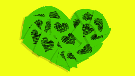 love notes: Green heart of love notes on yellow background