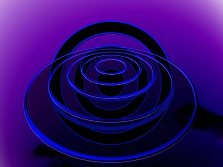 foresee: UFO at blue night abstract circles background Stock Photo