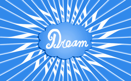 idealized: Big dream cloud in blue rays Stock Photo