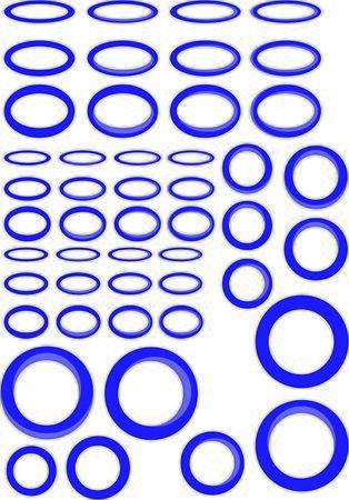 blue circles: Blue rings circles and ovals set