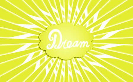 idealized: Greenish yellow dream cloud rays background