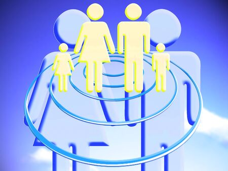 Couple plan for a family target conceptual stock image illustration
