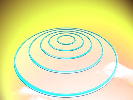 smaller: Concentric circles target on yellow background