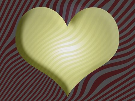 yellow heart: Yellow heart 3D shape on stripes background