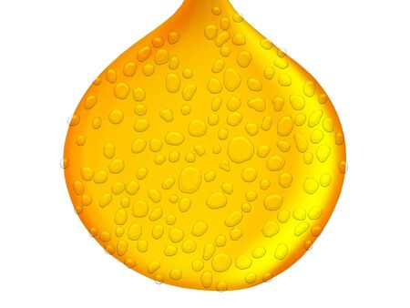 condense: Yellow oil drop with water drops texture isolated on white background