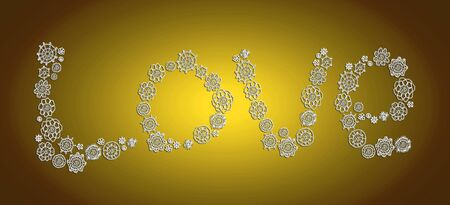 purls: Love word shape of vintage circles on golden background