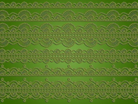 needle laces: Vintage elegant crochet green background