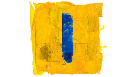 l first: Blue line of paint in yellow square shape background Stock Photo