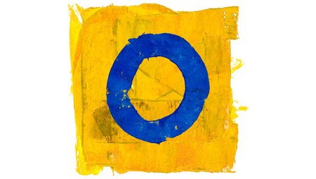 square shape: Blue circle of letter O in yellow paint square shape Stock Photo