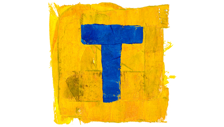 t square: T symbol of alphabet of blue paint in yellow square