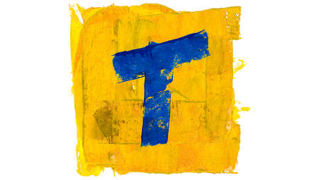 t square: Letter T painted with blue in yellow square Stock Photo