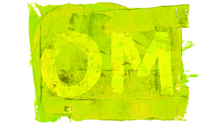 yellowish: Om yellowish green painted artistic meditation background