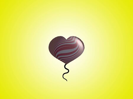 ascending: Tailed heart balloon ascending on rising yellow background
