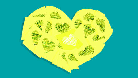 yellow heart: Yellow heart of hearts on blue Stock Photo