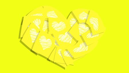 posted: Yellow love notes heart background