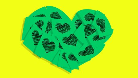love notes: Green love notes heart