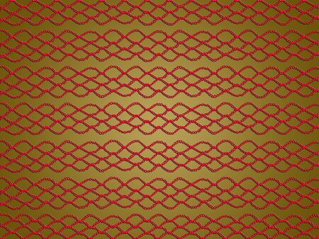 needle laces: Red crochet web pattern abstract background on green
