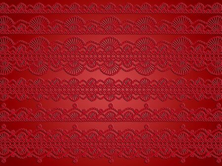 needle laces: Red vintage crochet designs abstract background Stock Photo