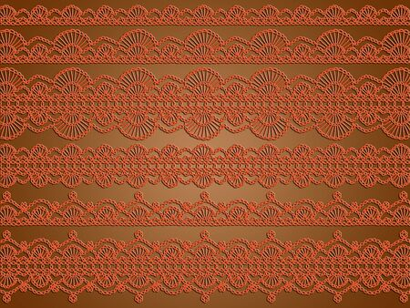 needle laces: Orange vintage crochet designs abstract background