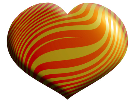aniversaries: 3D striped orange heart balloon isolated on white background